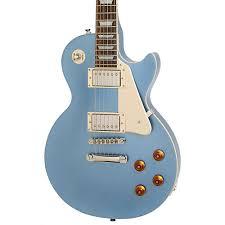 light blue gibson les paul epiphone les paul standard plain top electric guitar pelham blue