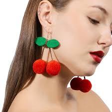 big ear rings retro rockabilly pinup fruit cherry statement earring pom pom earr