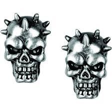 skull stud earrings pewter spike skull stud earrings free shipping on orders