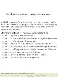 sample waiter resume food service waitress waiter resume samples