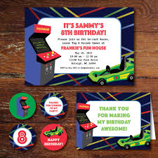 arcade game go cart laser tag birthday party invitation set