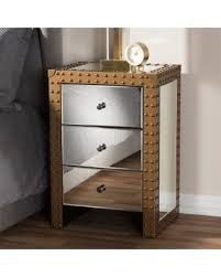 amazing deal on rustic industrial style mirrored nightstand by