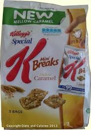 diets and calories kellogg s special k mini breaks mellow caramel new