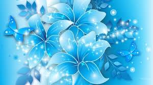 blue lilies blue butterflies blue lilies flowers nature background