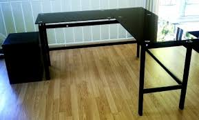 L Shaped Black Glass Desk New Black Saunder Lake Point L Desk Tempered Glass Desk Diggerslist