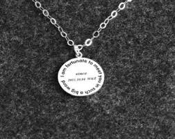 White Gold Personalized Necklace Engraved Disc Etsy