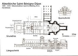 romanesque floor plan romanesque architecture france restored drawing of st bénigne