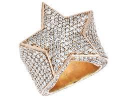 star rings diamonds images Men 39 s 10k rose gold real diamond super star ring 10 ct 25mm jpg