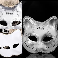 halloween mask online unisex full face cat shape masquerade masks gold silver painted