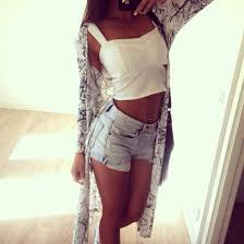 straight hair with outfits shorts blouse cardigan white tank top top denim long hair