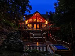 waterfall view luxury log home maggie v vrbo