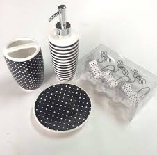 Bathroom Set Accessories by Bathroom Accessories Set Black White Striped Dot Soap Lotion