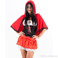 Hooded Halloween Costumes Charming Red Riding Hood Costume Short Sleeve