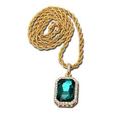 green gem necklace images 14k gold plate iced out hip hop emerald green gem jpg