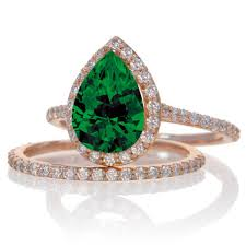 gold emerald engagement rings 2 carat emerald and halo bridal ring set on 10k gold