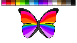 learn colors for kids and color rainbow butterfly coloring pages