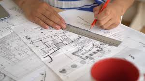 red pencil showing architectural plan stock video footage
