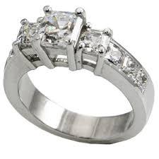 zirconia stone rings images 14k gold 3 stone asscher cut cz cubic zirconia anniversary ring jpg