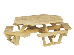 hexagon picnic table with attached benches cape cod fence company