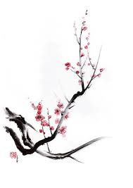 cherry blossom tree sumi e painting print posters by