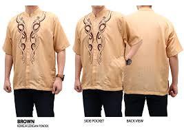 desain jaket warna coklat baju muslim pria koko lengan pendek murah berkualitas