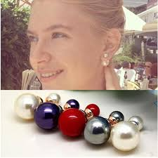 sided stud earrings pearl earrings side shining pearl stud earrings big pearl