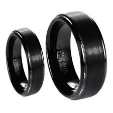 his and hers wedding bands his s matching set 6mm 8mm black brushed center with