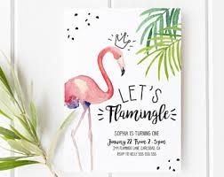 flamingo invitation etsy