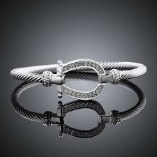 silver rhinestone bracelet images Rhinestone horse shoe bangles new horizon jewelry jpg