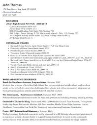 resume examples for high students applying to college