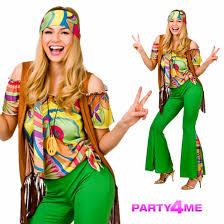 halloween hippie costume 60s 70s groovy lady hippy flower power womens ladies fancy