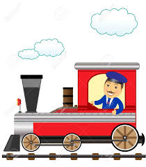 cheerful cartoon train with smile conductor thumb up royalty free