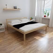 chambre pin massif lit cadre en pin massif naturel robuste 200 x 180 cm pour dortoir