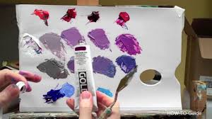 how to mix acrylic paint to get purple color colour mixing youtube