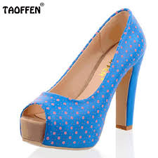 Wedding Shoes Peep Toe Taoffen Size 32 43 Women High Heel Shoes Peep Toe Ladies Square