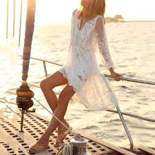 white lace long sleeve loose hollow beach dress u2013 tangeel