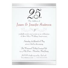 25th wedding anniversary invitations 25th silver wedding anniversary invitations zazzle