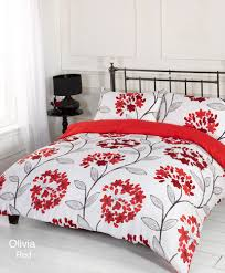 duvet quilt cover bedding set red white single double king