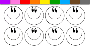 learn colors for kids and color this fun smiley face coloring page