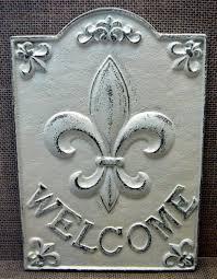 fleur de lis cast iron welcome fdl sign shabby chic off white home