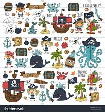 pirates children cartoon illustration kids drawing stock