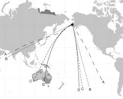 Horizon Air Route Map by Orientation And Autumn Migration Routes Of Juvenile Sharp Tailed