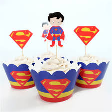 superman cake toppers 24pcs party decoration wedding cupcake wrappers favors superman