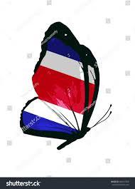 Costarica Flag Costa Rica Flag Butterfly Vector Stock Vector 264615500 Shutterstock