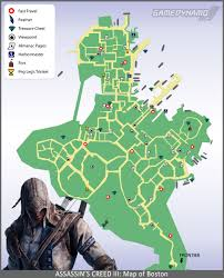 Boston Map Pdf by Assassin U0027s Creed Iii Maps Feathers Viewpoints Fast Travel