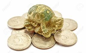 money coins with turtle sitting feng shui stock photo picture and