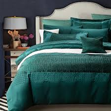 Duvet Sewing Pattern Upscale Plain Dark Teal Solid Colored Diamond Print With Sewing