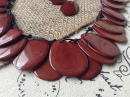 leather bib necklace images Tagua nut brown bib necklace and earrings set galapagos tagua jpg