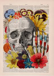 black friday skull with flowers collage art wall decor skull