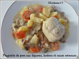 cuisiner les paupiettes de porc paupiettes de porc aux légumes lardons et sauce crémeuse